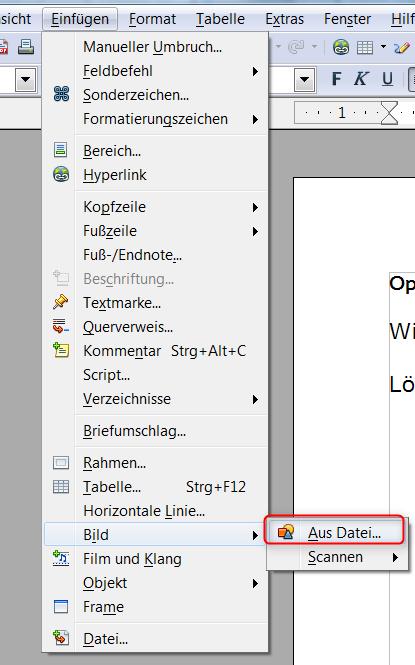 OpenOffice und LibreOffice Writer u2013 Bild aus dem Internet ...