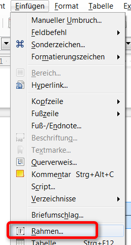 Openoffice und libreoffice writer text neben tabelle for Tabelle open office